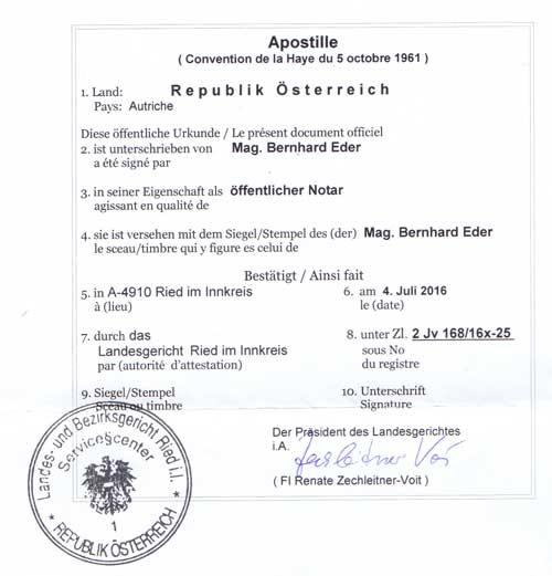 Apostille aus Österreich