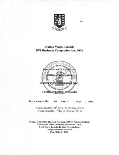 Memorandum and/or Articles of Association aus dem Handelsregister von BVI